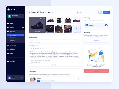 Marketplace product page web admin panel ux ui illustration e-commerce marketplace