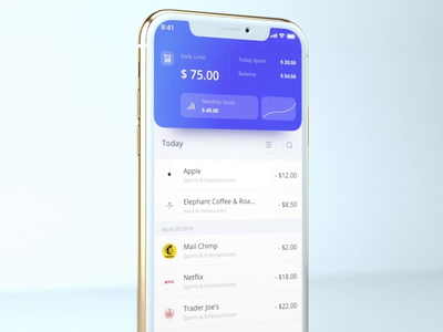 Wallet Tracking App minimal sketch flat clean simple interface animation ios mobile banking ui ux analysis wallet tracking atm card bank interaction 3d 3d animation budget