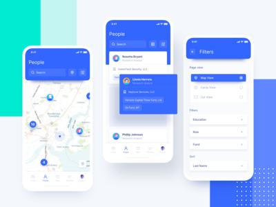 UGEM Funds people tool - Mobile filter card app ugem product design minimal investing interface fund fintech finance data map control ux ui mobile