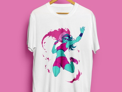 Padel T-shirt design magenta fire fitness woman tennis sports padel artdirection neon comics 90s design panama illustration