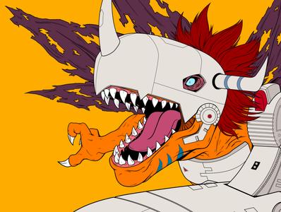 MetalGreymon cyborg robot anime art direction character design design panama illustration dinosaur metalgreymon digimon