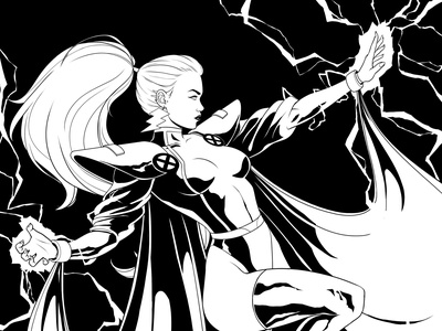 STORM 90s art direction design character design panama illustration ororo storm comics xmen