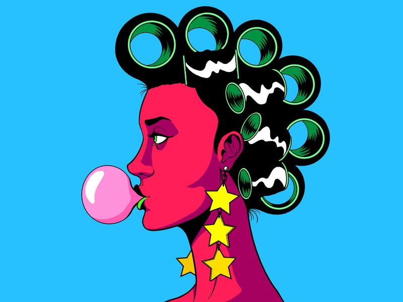 Roller Pop hair rollers bubblegum music pop future funk hispanic latinamerica girl character design art 80s design panama illustration