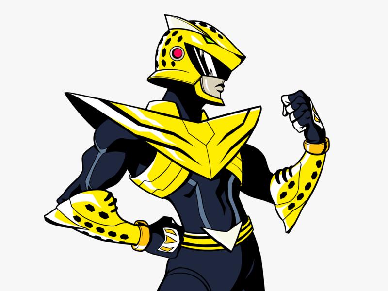 Jaguar Hero Design panama hero image art direction character design jaguar hispanic latin america neon 80s 90s power rangers sentai hero champion
