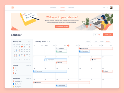 Calendar charts ecommerce simple finance interface marketplace deadline status kosinov ux ui clean design illustration schedule calendar