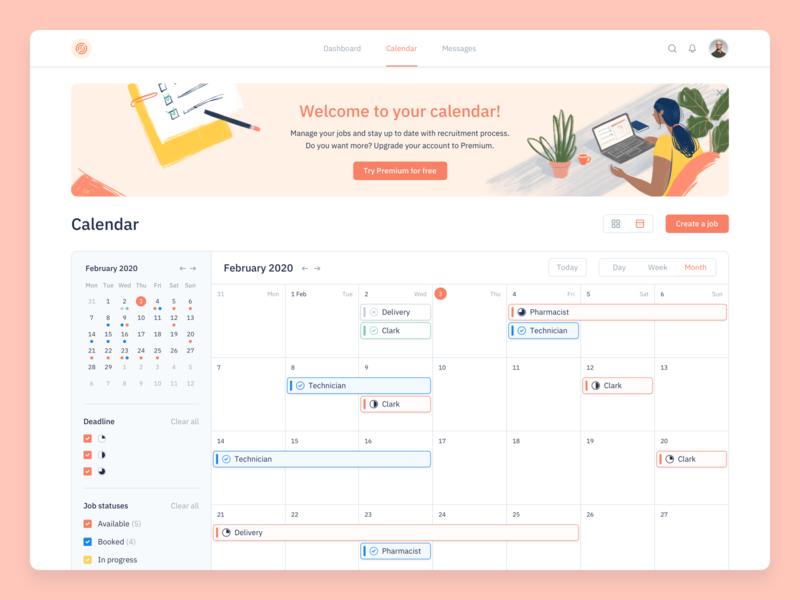 Calendar marketplace deadline status kosinov agilie ux ui clean design illustration schedule calendar