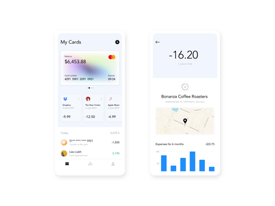Wallet app payment kosinov finance clean ux ui cards wallet app minimalism charts banking