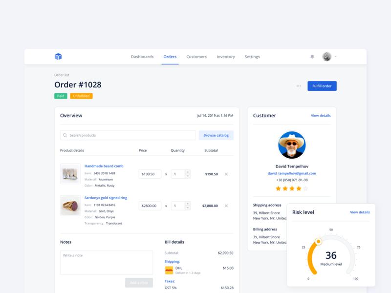 Order page design kosinov ux shipping order interface ui billing customer product rating ecommerce dashboard design