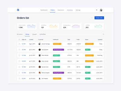 Orders List simple list interface dashboad ux ui ecommerce customer products orders kosinov