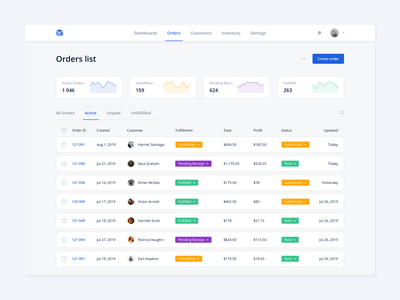 Orders List simple list interface dashboad ux ui ecommerce customer products orders kosinov