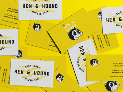 Hen & Hound logo chicken vibrant branding yellow rubber hose character business card