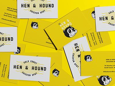 Hen & Hound logo chicken vibrant branding yellow rubber hose character business card