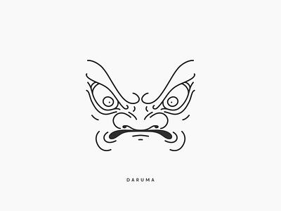 Daruma design doll line japanese japan mark logo daruma