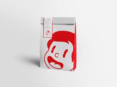 Happy Daze burger character design packaging design packaging bag food red character icon logo
