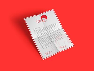 Happy Daze icon logo cartoon character red branding leaflet flyer