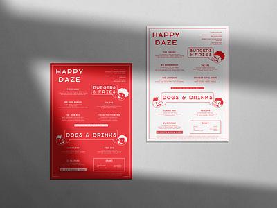 Happy Daze cartoon character red burger restaurant branding menu design menu