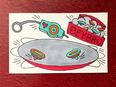 Bey Bro illustration hand-drawn hand drawn beyblades camiah