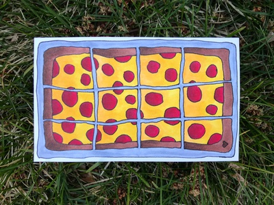 Square Slices heart food pizza hand-drawn hand drawn camiah