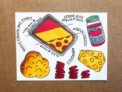 Pizza Recipe food pizza illustration hand-drawn hand drawn camiah