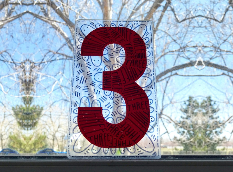 Numbers 3 illustration hand-drawn hand drawn heart doodles camiah
