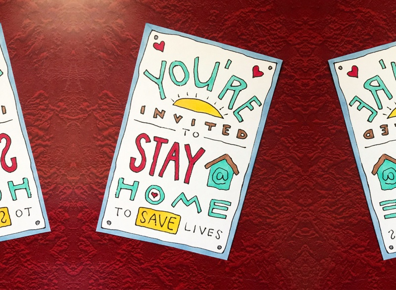 You're Invited to Stay Home heart illustration hand-drawn hand drawn camiah lettering