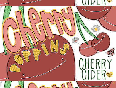 Cherry Poppins Cider cherry heart illustration hand-drawn hand drawn camiah lettering