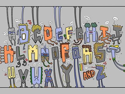 Creature Alphabet heart illustration hand-drawn hand drawn camiah lettering alphabet creature