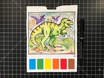 Activity Page hand-drawn hand drawn camiah lettering doodles watercolor trex
