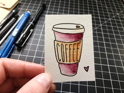 Watercolor Coffee doodle heart illustration hand-drawn hand drawn camiah lettering coffee watercolor