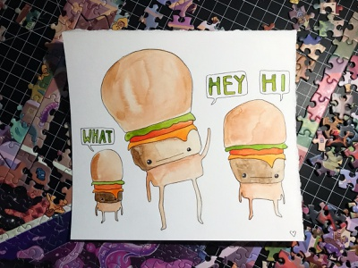 Fam-Burger hi hey burger doodle food heart illustration hand-drawn hand drawn camiah lettering