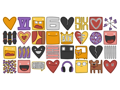 Emotes for miah doodle food pizza heart illustration hand-drawn hand drawn camiah lettering