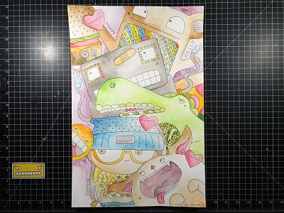 Characters burger bear dino cat doodle food pizza heart illustration hand-drawn hand drawn camiah