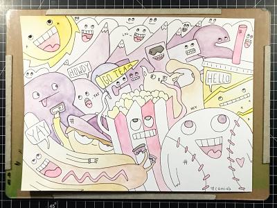 Rockies Fans sun popcorn hotdog baseball rockies illustration hand-drawn hand drawn camiah lettering