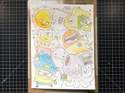 Gathering of Buddies doodle cube sun coffee dinosaur bear octopus heart illustration hand-drawn hand drawn camiah