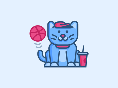 Dribbble Player sketch vector sticker mule cat flat playoff dribbble stickers basketball illustration