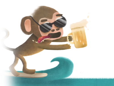 Monkey Surf Variant sea surf beer monkey drawing illustration
