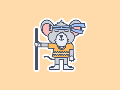 Mouse Ninja vector drawing flat outlines animal cute stickers ninja