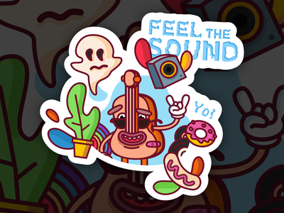 Feel The Sound drawing stickers outlines vector flat illustration