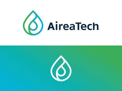AireaTech Logo green tech gradient outline flat branding logo