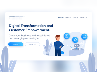Landing Illustration design ai robotics chatbot ui landing page site drawing illustration web design