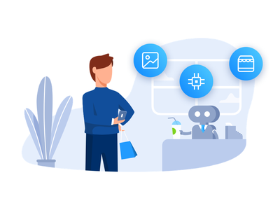 Illustration icons vector shopping chatbot ai robotics drawing illustration