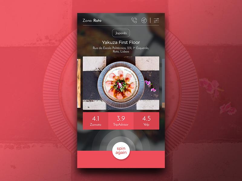 Spin The Fork   Restaurants App web ux ui mobile layout gif design app