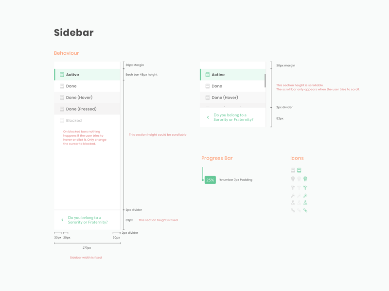 Style Guide -  How sidebar works style guide elements behaviour developers ux interface ui