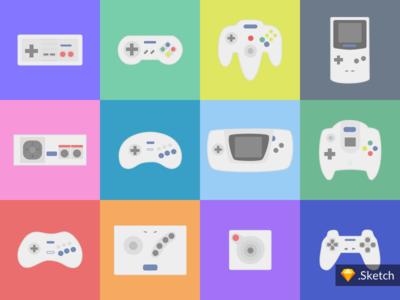 Retro Games Controllers | Icons Illustration - Sketch Download controller design flat game gamepad retro illustration pad playstation sketch nintendo sega