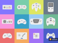 Retro Games Controllers | Icons Illustration - Sketch Download