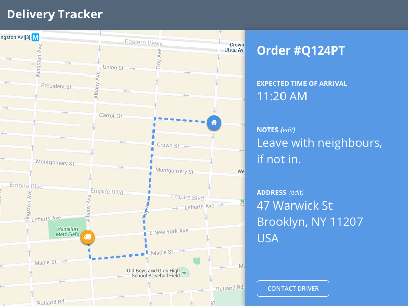 Location Tracker - DailyUI - 020 ux ui delivery location dailyui
