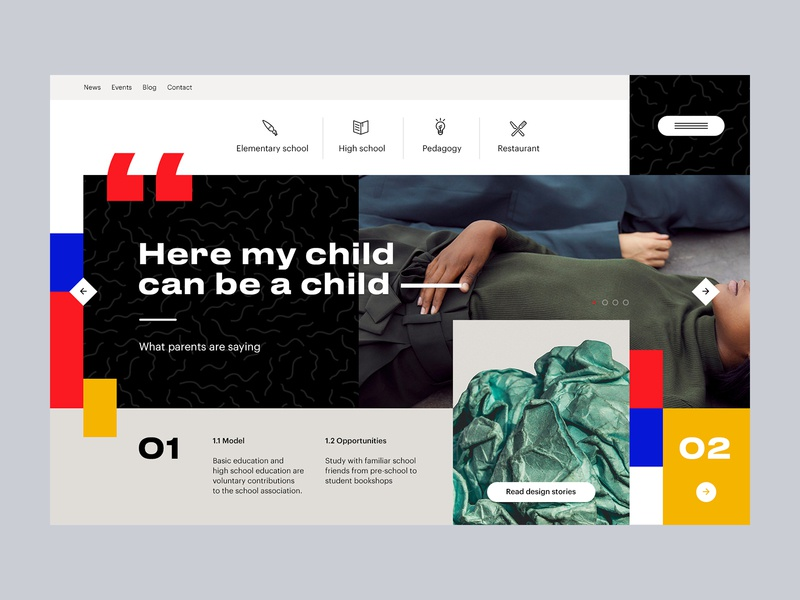 Homepage for Art School hero mondrianizm web webdesign landing minimal clean flat ux ui