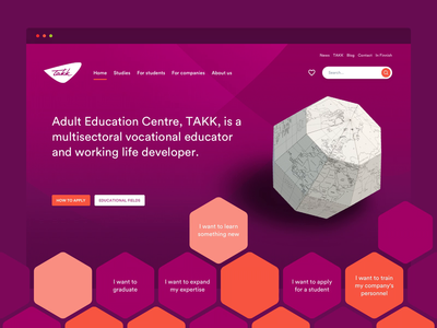 Homepage for Vocational School hero webdesign minimal clean web flat ui