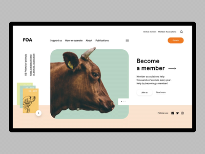 Animal Welfare Website pastel color animal landing hero minimal clean web ux flat ui