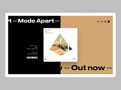 Mode Apart Landing Page ui flat minimal music music album hero landing product animation